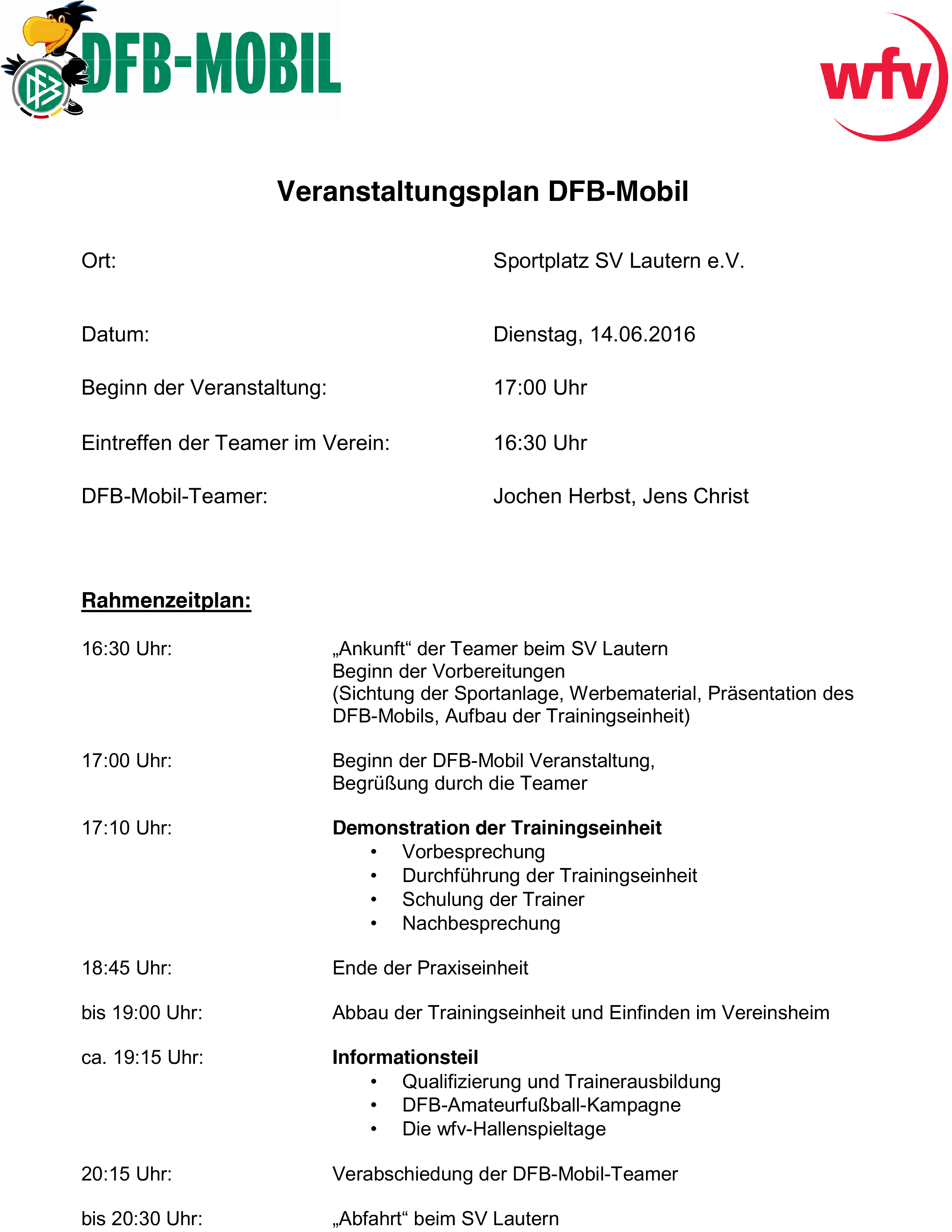 Veranstaltungsplan DFB-Mobil SV Lautern
